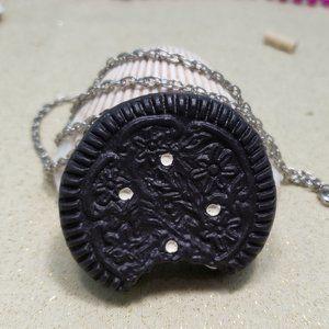 Vintage Sandwich Cookie Necklace Chocolate